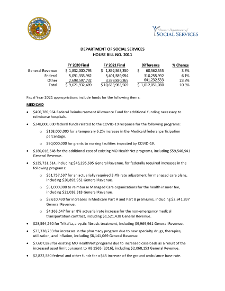 Fiscal Year 2021 Department of Social Services House Bill No. 11 Fact Sheet