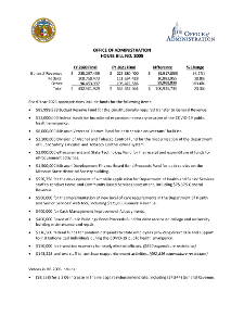 Fiscal Year 2021 Office of Administration House Bill No. 2005 Fact Sheet