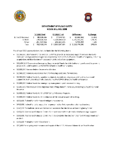 Fiscal Year 2021 Department of Public Safety House Bill No. 8 Fact Sheet