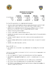Fiscal Year 2021 Department of Corrections House Bill No. 9 Fact Sheet