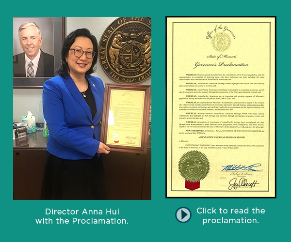Missouri Department of Labor Director Anna Hui with the Asian/Pacific American Heritage Month Proclamation