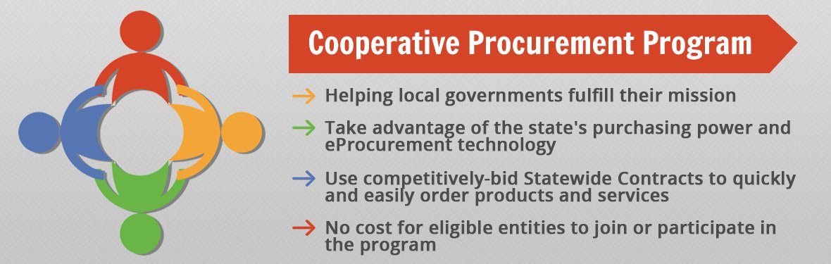 Cooperative Procurement Program - Helping local governments fulfill their mission; take advantage of the state's purchasing power and eProcurement technology; use competitively-bid Statewide Contracts; no cost for eligible entities to join or participate