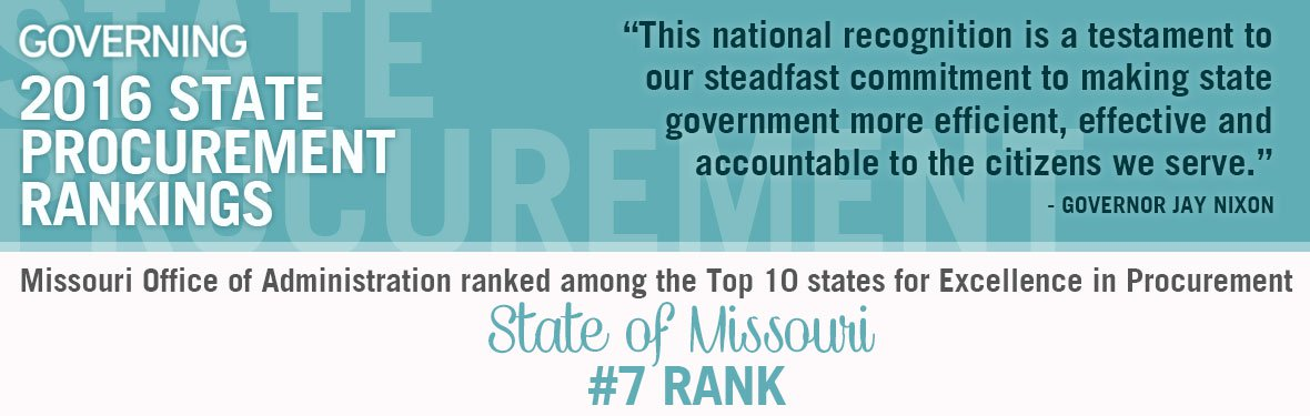 Missouri Office of Administration ranked among the Top 10 state for Excellence in Procurement - #7 Rank