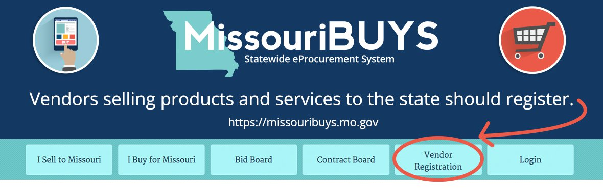 Vendors selling products and services to the state should register at https://missouribuys.mo.gov/registration