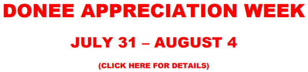 Donee Appreciation Week | July 31 - August 4 | Click here for details